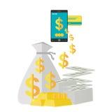 Vetor em linha do conceito do comércio eletrónico dos Internet banking Foto de Stock