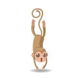 Vetor engraçado animal do isolado dos desenhos animados do macaco ilustração royalty free