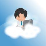 Vetor engraçado do flutuador da nuvem do trabalho do homem Ilustração Royalty Free