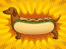 Vetor engraçado do pop art da metáfora do cachorro quente Imagem de Stock