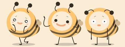 Vetor engraçado dos desenhos animados do caráter das abelhas Fotos de Stock Royalty Free