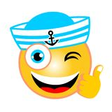 Vetor engraçado dos desenhos animados do emoticon com chapéu do marinheiro ilustração royalty free