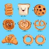 Vetor engraçado dos desenhos animados dos caráteres da padaria Fotografia de Stock