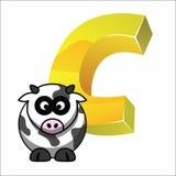 Vetor EPS10 do alfabeto da vaca de C Letras desenhadas mão Letras do alfabeto escrito Imagens de Stock