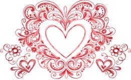 Vetor esboçado do coração do Doodle Foto de Stock Royalty Free