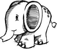 Vetor esboçado do elefante Imagens de Stock Royalty Free