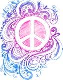 Vetor esboçado do sinal de paz do Doodle