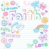 Vetor esboçado dos Doodles da pomba da paz da fé Foto de Stock Royalty Free