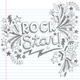 Vetor esboçado Illustratio das garatujas da música da estrela do rock Foto de Stock Royalty Free