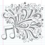 Vetor esboçado Illustra da garatuja do caderno da nota da música Imagens de Stock Royalty Free