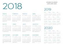 Vetor espanhol do calendário 2018-2019-2020 ilustração stock