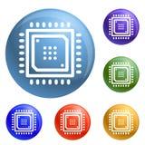 Vetor esperto do grupo dos ícones da microplaqueta ilustração stock