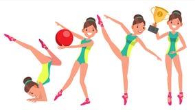 Vetor fêmea do jogador da ginástica Fita ginástica, aro, mace slim dança Na ação Ilustração do personagem de banda desenhada ilustração do vetor