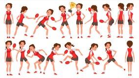 Vetor fêmea do jogador do tênis de mesa Na ação Conceito dos esportes Jogador estilizado Ilustração do personagem de banda desenh ilustração stock