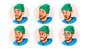 Vetor farpado do Avatar do homem Executivos do Avatar do caráter Tampão, chapéu Emoções da cara ajustadas Desenhos animados, arte ilustração do vetor