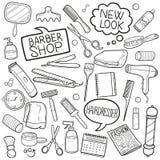 Vetor feito à mão do projeto do esboço dos ícones da garatuja de Barber Shop Hairdresser Equipment Traditional ilustração do vetor