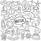 Vetor feito à mão do projeto do esboço tradicional náutico dos ícones da garatuja do esporte do mar ilustração royalty free
