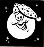 Vetor feliz Clipart dos desenhos animados do sono da lua Fotografia de Stock Royalty Free