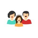 Vetor feliz da opinião do retrato da família, caráteres lisos do pai e da filha da mãe dos desenhos animados com caras de sorriso Foto de Stock