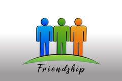 Vetor feliz do ?cone do logotipo dos povos da amizade ilustração do vetor
