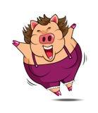 Vetor feliz do porco gordo da mulher Foto de Stock