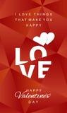 Vetor feliz do vermelho do sumário do dia de Valentim do amor ilustração do vetor
