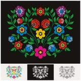 Vetor floral étnico mexicano com projeto bonito e adorável ilustração royalty free