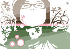 Vetor floral da face da forma Imagens de Stock Royalty Free