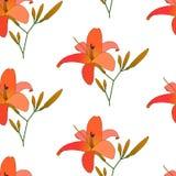 Vetor floral de florescência do teste padrão dos lírios Fotos de Stock Royalty Free