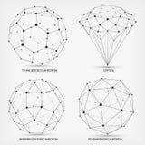 Vetor Formas geométricas complexas Diamante Geométrico abstrato Uma série de papéis Elemento poligonal da malha de Wireframe ilustração stock