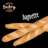 Vetor francês dos baguettes Produto cozido do pão ilustração stock