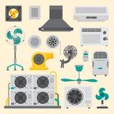 Vetor fresco de acondicionamento da temperatura da tecnologia do fã do clima do ventilador do equipamento de sistemas da represa  Imagem de Stock