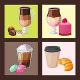 Vetor fresco do cappuccino da bebida da pastelaria deliciosa doce da sobremesa da padaria da manhã do copo de café do bolo dos qu ilustração stock