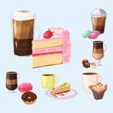 Vetor fresco do cappuccino da bebida da pastelaria deliciosa doce da sobremesa da padaria da manhã do copo de café do bolo dos qu ilustração do vetor