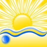 Vetor. fundo do verão com ondas, sol e plac Fotos de Stock