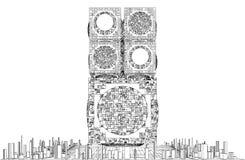 Vetor futurista da estrutura do arranha-céus da cidade da megalópole Foto de Stock