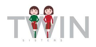 Vetor gêmeo pequeno bonito das meninas isolado no fundo branco ilustração do vetor