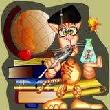 Vetor, gato do cientista Imagens de Stock Royalty Free