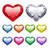 Vetor Gem Hearts Set ilustração stock