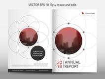 Vetor geométrico do molde do projeto do folheto do informe anual do círculo abstrato vermelho Cartaz infographic do compartimento Imagens de Stock Royalty Free