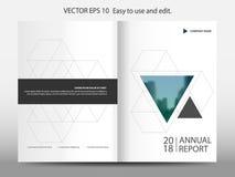 Vetor geométrico do molde do projeto do folheto do informe anual do triângulo azul Cartaz infographic do compartimento dos inseto Imagens de Stock Royalty Free