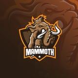 Vetor gigantesco do projeto do logotipo da mascote do elefante com estilo moderno do conceito da ilustração para a impressão do c ilustração stock