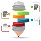 Vetor gráfico da apresentação do cilindro da informação do lápis Fotos de Stock