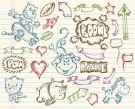 Vetor grande mega do Doodle do esboço Fotografia de Stock