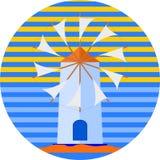 Vetor grego do dia ensolarado do cartaz do turista do moinho de vento da ilha para seu projeto ou logotipo ilustração royalty free