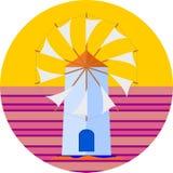 Vetor grego do por do sol do cartaz do turista do moinho de vento da ilha para seu projeto ou logotipo ilustração royalty free