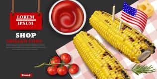 Vetor grelhado do milho realístico Produtos de fast food deliciosos bandeiras detalhadas dos moldes 3d ilustração royalty free