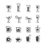 Vetor grupo do ícone da bebida Fotos de Stock