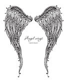 Vetor hand drawn ornate angel wings, zentangle style Royalty Free Stock Photo