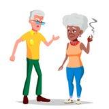 Vetor idoso dos pares Vovô com avó lifestyle Pares de pessoas adultas Afro-americano, europeu Isolado ilustração royalty free